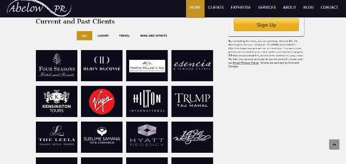 Abelow PR Home Page Clients Section