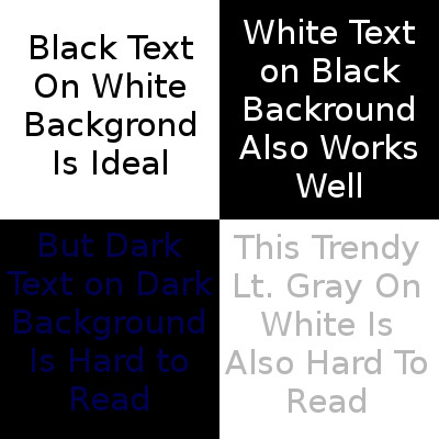 Demontration of how contrast affects readablity